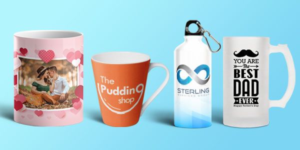 collection of personalised mugs and sipper banner on printyo