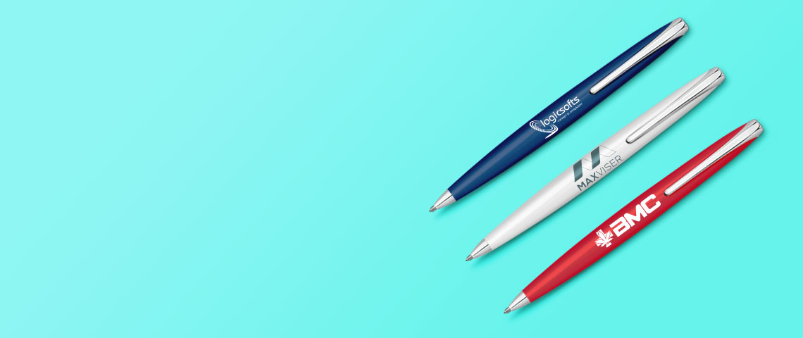 collection of personalised pens banner on printyo