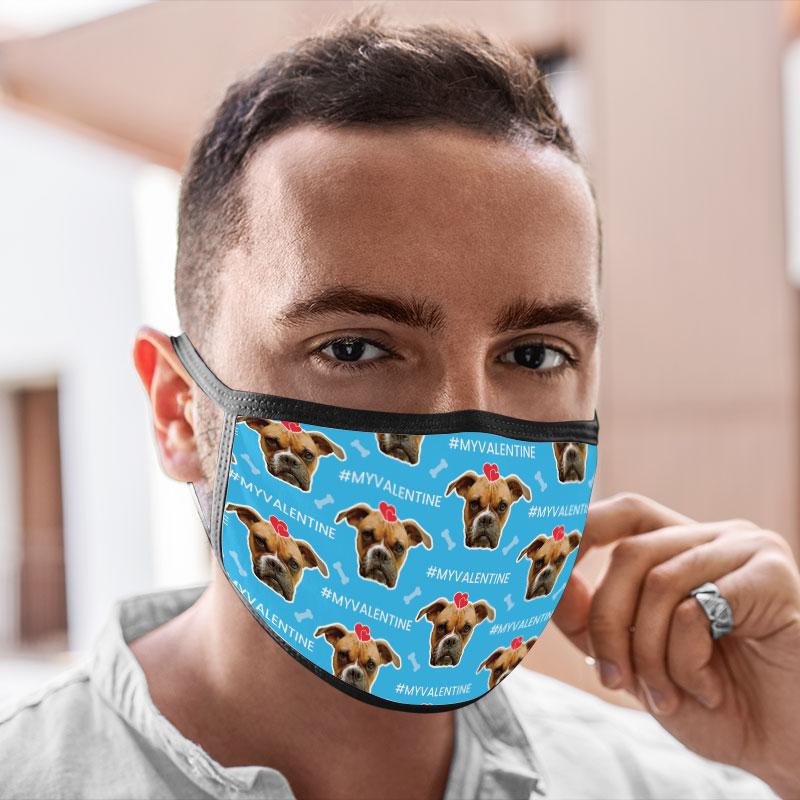 Washable Face Masks Valentine Dog Lover