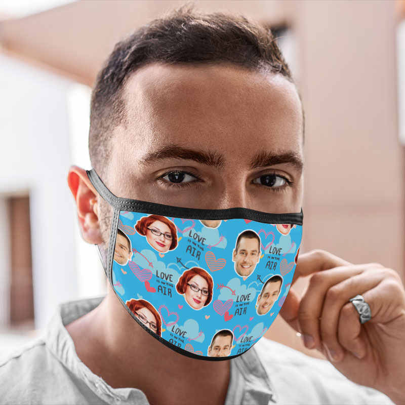 Washable Face Masks Valentine Love Air Printed