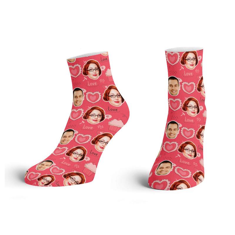 Valentine Ankle Face Socks Love Printed