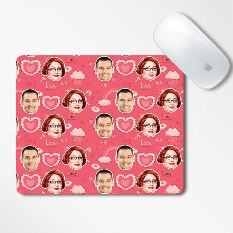 Valentine Face Mousepad Cupcake Printed