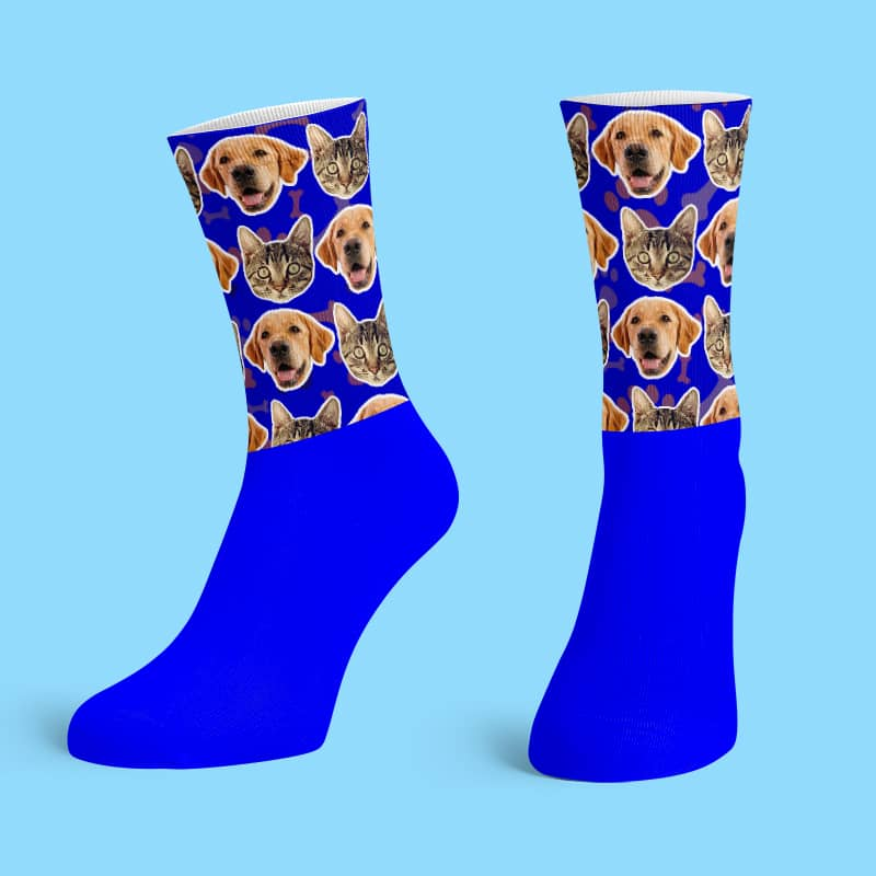 Blue Cotton Base Crew Socks