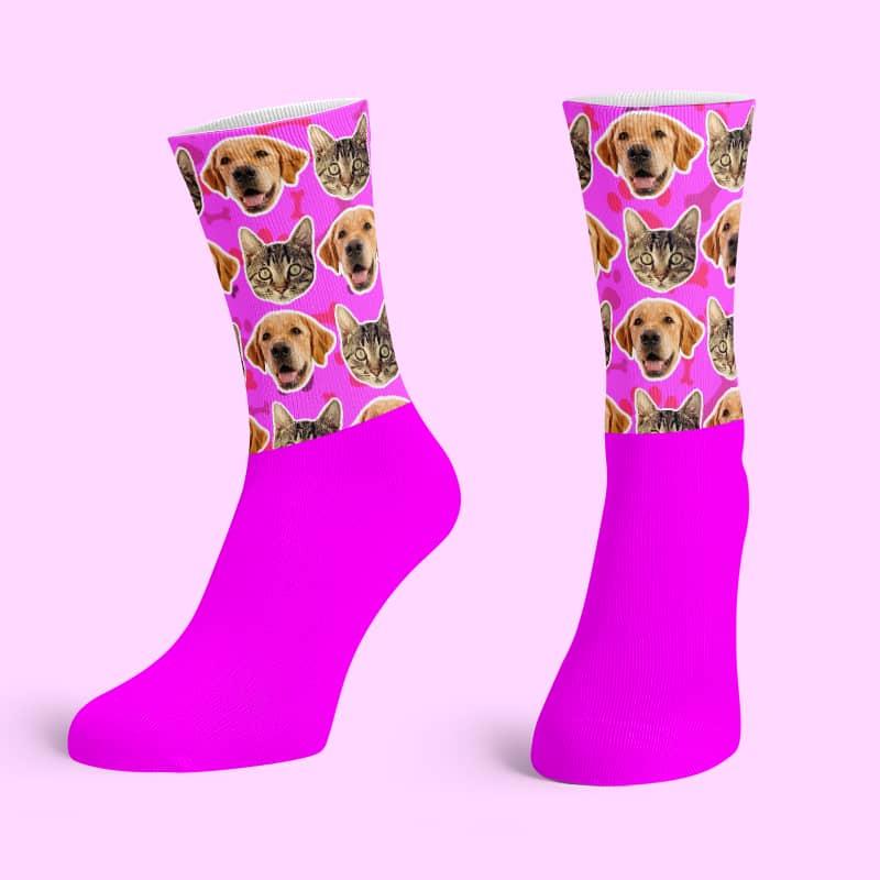 Pink Cotton Base Crew Socks