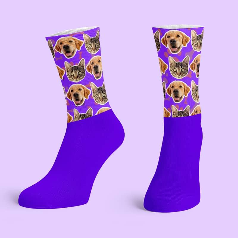 Purple Cotton Base Crew Socks