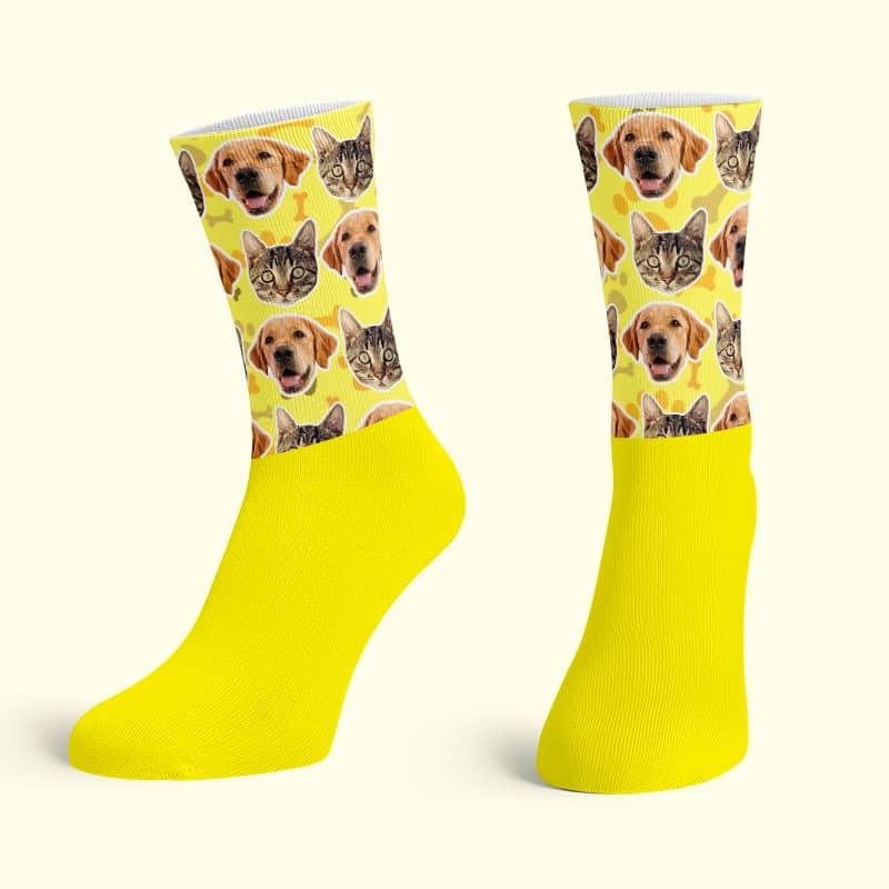 Yellow Cotton Base Crew Socks
