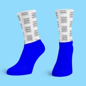 Blue Cotton Base Crew Socks
