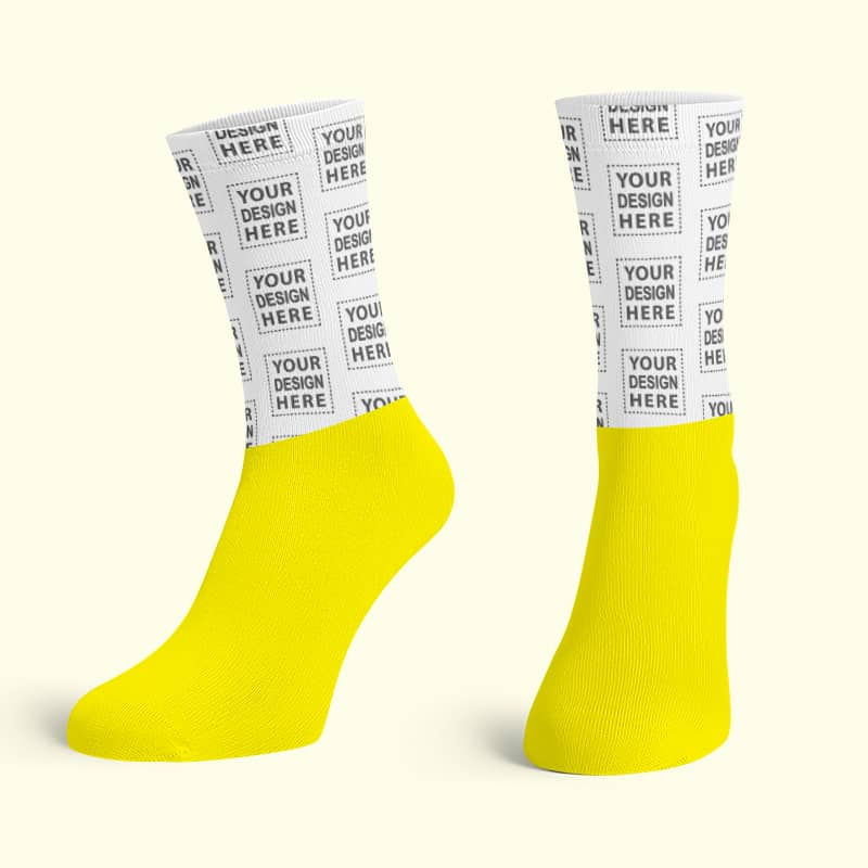 Yellow Cotton Base Crew Socks
