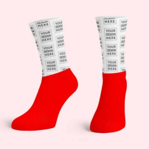Red Cotton Base Crew Socks